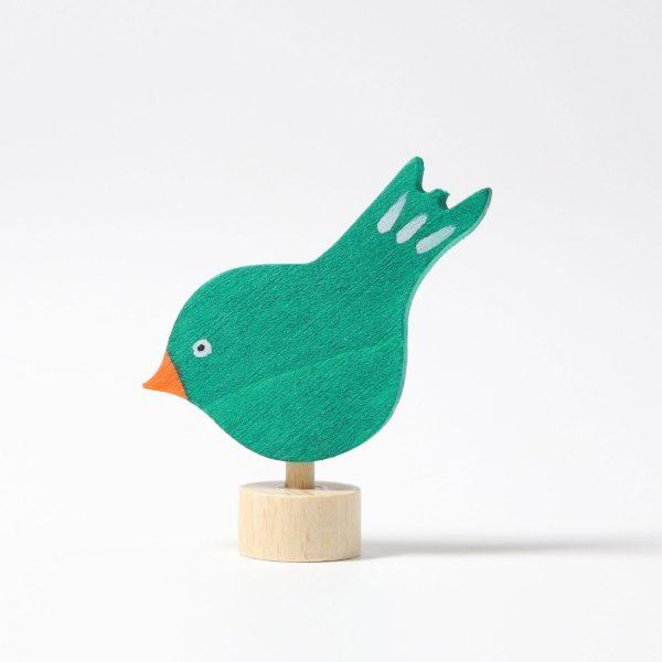 Figura decorativa legno uccellino verde Grimm's