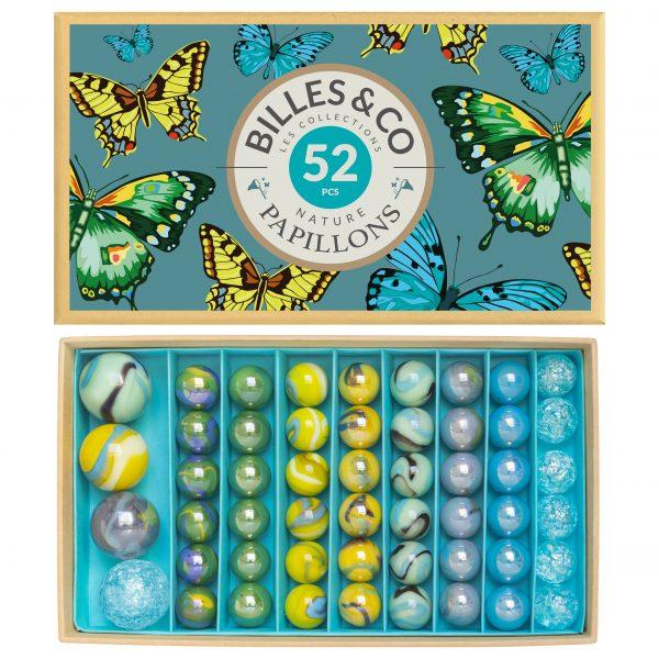 Scatola grande biglie vintage Papillons Billes & co