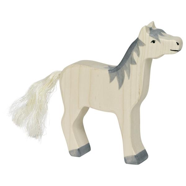 Figura legno Cavallo bianco - Holztiger