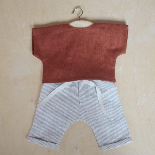 Abito camicia + pantalone bambola 34 cm