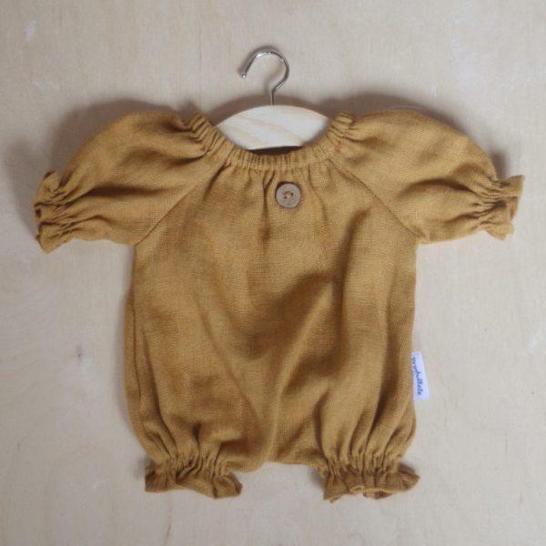Abito pagliaccetto lino senape bambola 34 cm