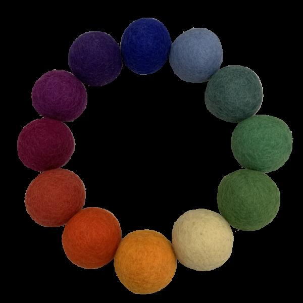 Set 12 palle arcobaleno in feltro 5 cm Papoose Toys