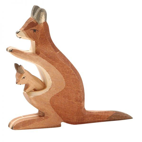 Figura legno Canguro con piccolo - Ostheimer
