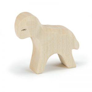 Figura legno agnello bianco in piedi - Ostheimer