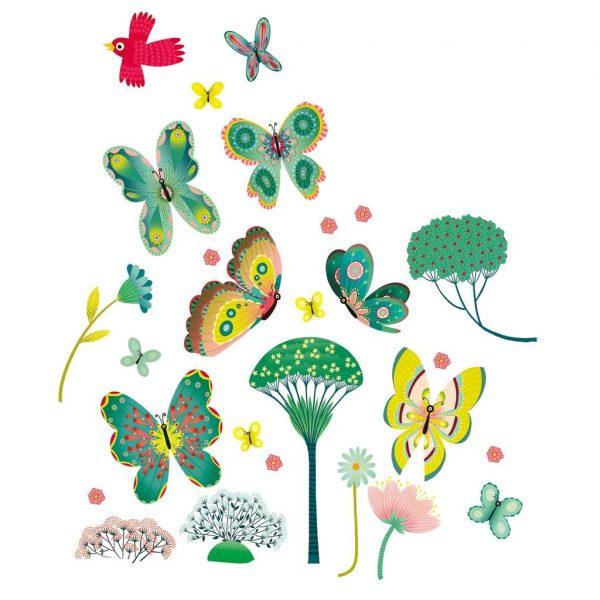 Adesivi riposizionabili per finestra Farfalle Djeco
