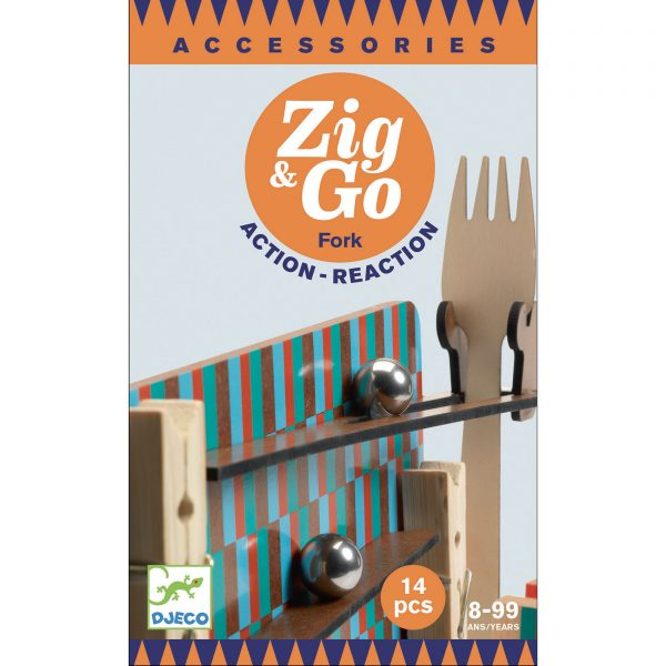 Pista azione reazione ZIG & GO estensione Fork 14 pezzi Djeco