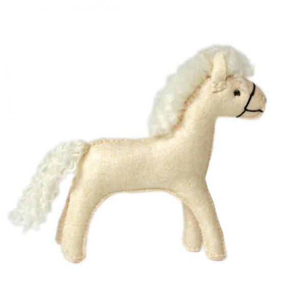 Figura in feltro Waldorf Cavallo bianco Gluckskafer