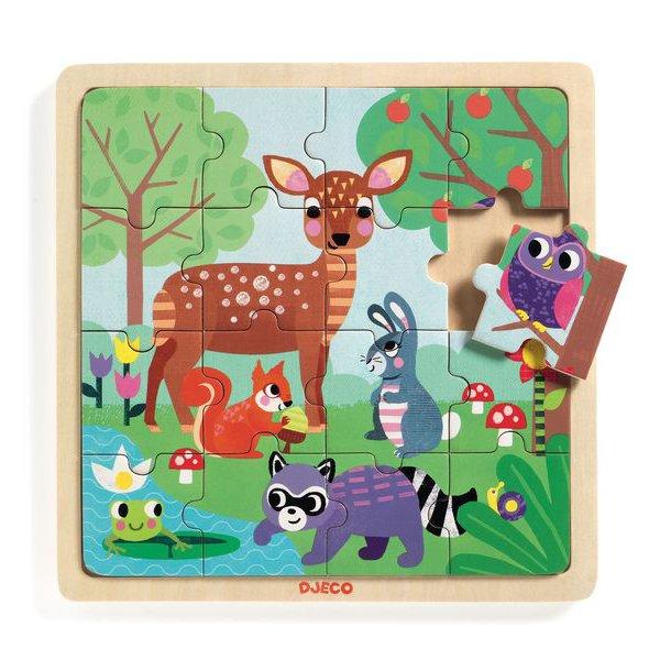 Puzzle legno con cornice Forest 16 pezzi Djeco
