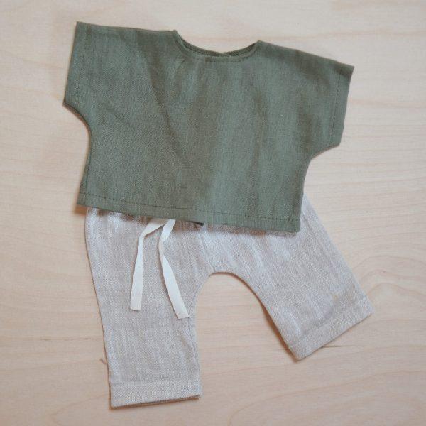 Abito camicia verde + pantalone bambola 34 cm