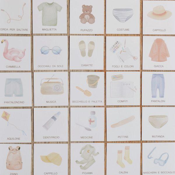 Carte apprendimento Baboo in viaggio 48 mini carte ITA-ENG in valigia