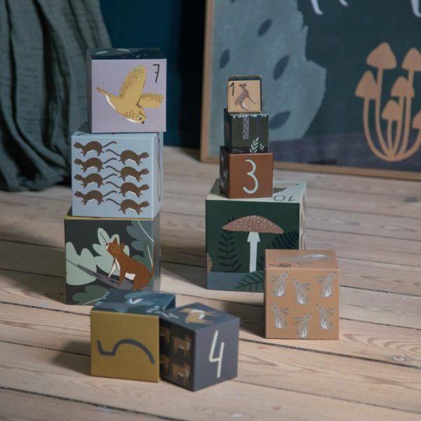 10 Cubi impilabili cartone Nel bosco Sebra