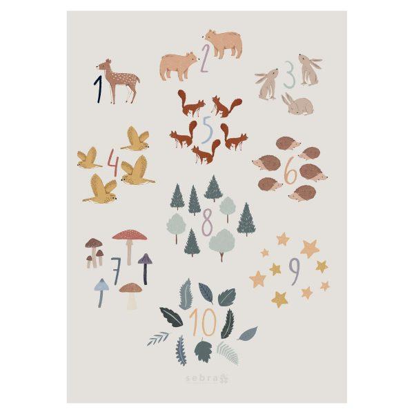 Poster dei numeri 1-10 Nel bosco Sebra