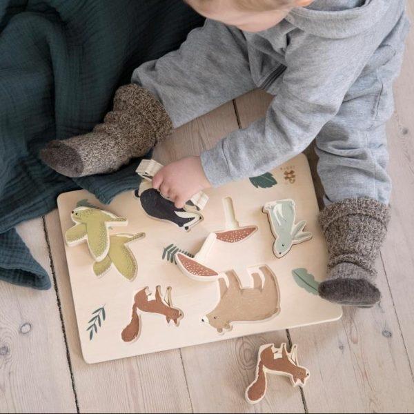 Puzzle degli incastri e figure in legno Bosco Sebra