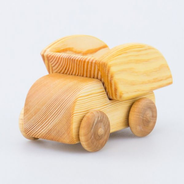 Mini auto camion con ribalta legno massello Drei Blatter