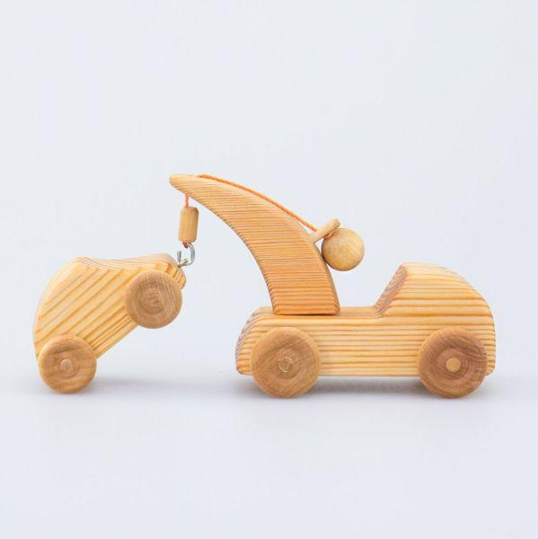 Mini carro attrezzi + auto legno massello Drei Blatter