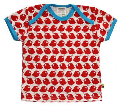 t-shirts con uccellini rossi
