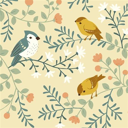 BIRDS & BRANCHES CREAM tessuto knit interlock Birch