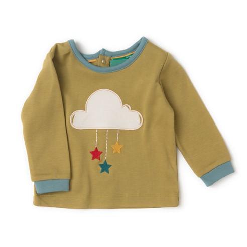 Maglietta con applicazione nuvola senape