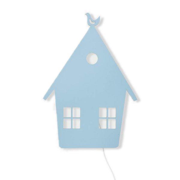 Lampada da parete casetta azzurro pastello