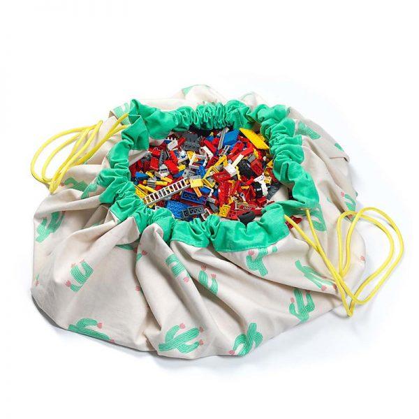 Sacco porta giochi e tappeto 2 in 1 Cactus Play&go