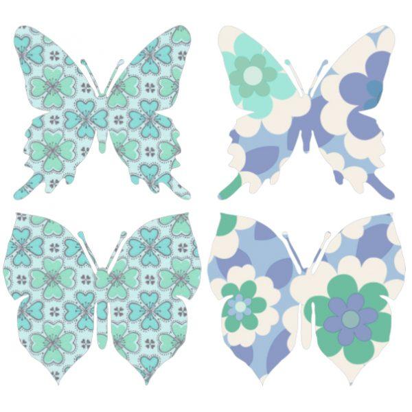 Carda da parati sagomata farfalle blu INKE