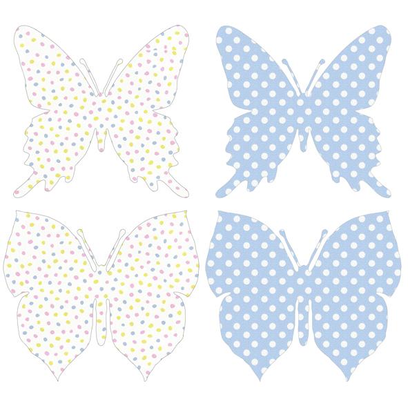 Carda da parati sagomata farfalle pois INKE