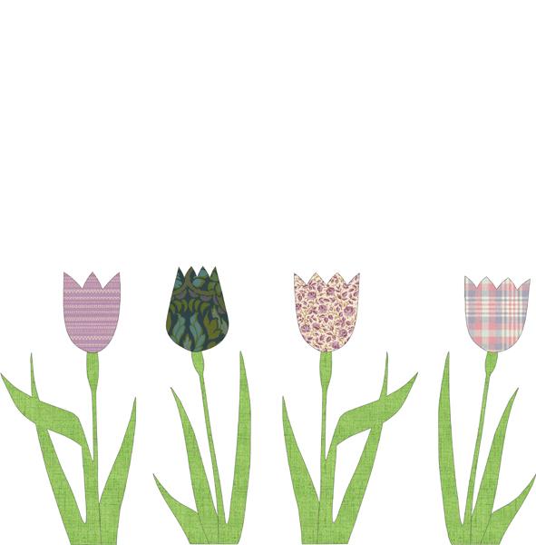 Carda da parati sagomata tulipani lilla INKE