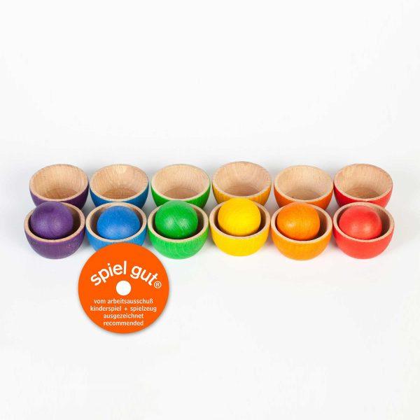 Set ciotole e palle arcobaleno legno Grapat