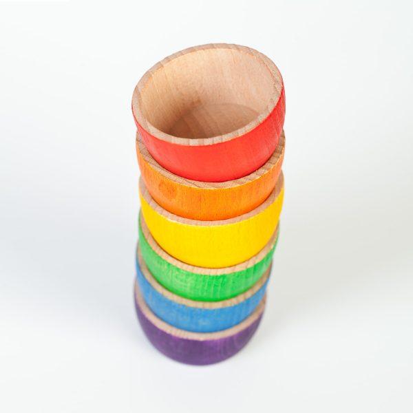 Set 6 ciotole arcobaleno legno Grapat