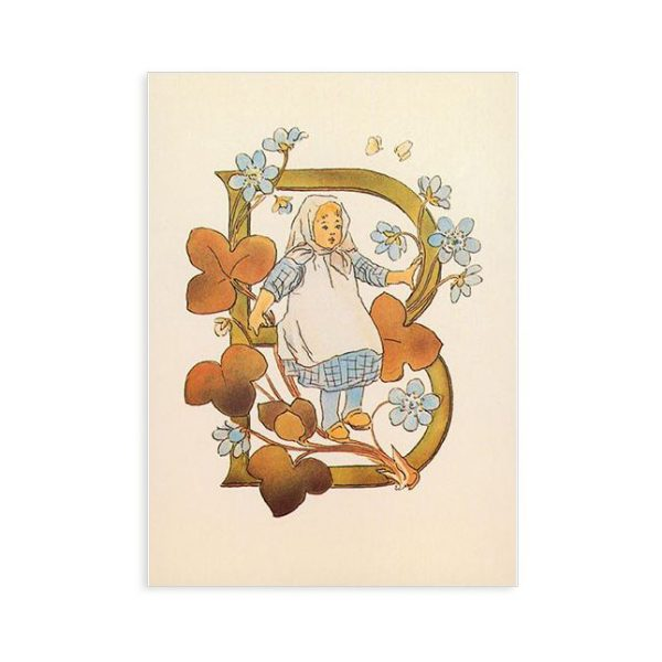 Cartolina lettera B - Alfabeto fiorito Ottilia Adelborg