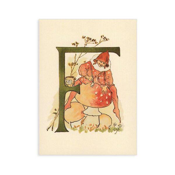 Cartolina lettera F - Alfabeto fiorito