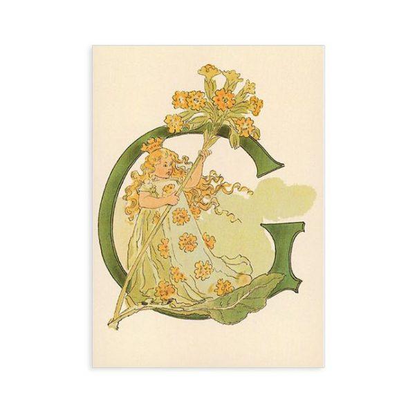 Cartolina lettera G - Alfabeto fiorito