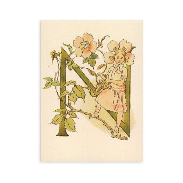 Cartolina lettera N - Alfabeto fiorito