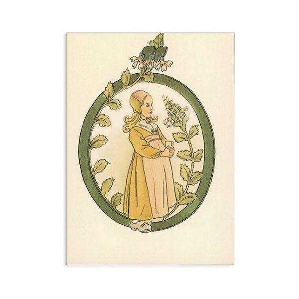 Cartolina lettera O - Alfabeto fiorito