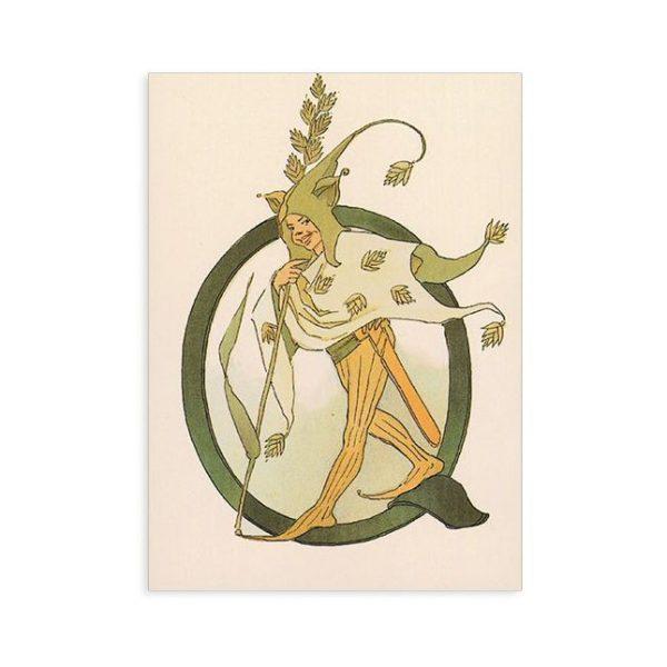 Cartolina lettera Q - Alfabeto fiorito