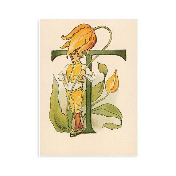 Cartolina lettera T - Alfabeto fiorito