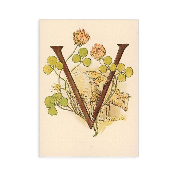 Cartolina lettera V - Alfabeto fiorito