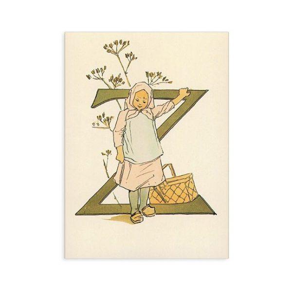 Cartolina lettera Z - Alfabeto fiorito