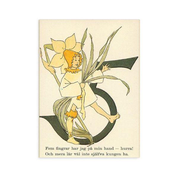 Cartolina numero 5 fiorito Ottilia Adelborg