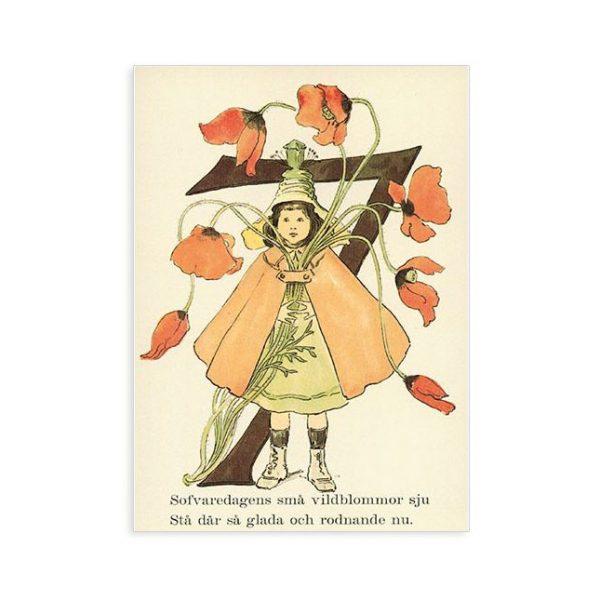 Cartolina numero 7 fiorito Ottilia Adelborg
