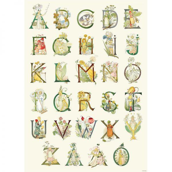 Poster Alfabeto fiorito 50x70 Ottilia Adelborg