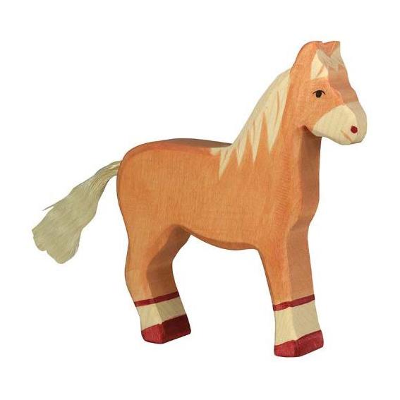 Figura legno puledro marrone - Holztiger