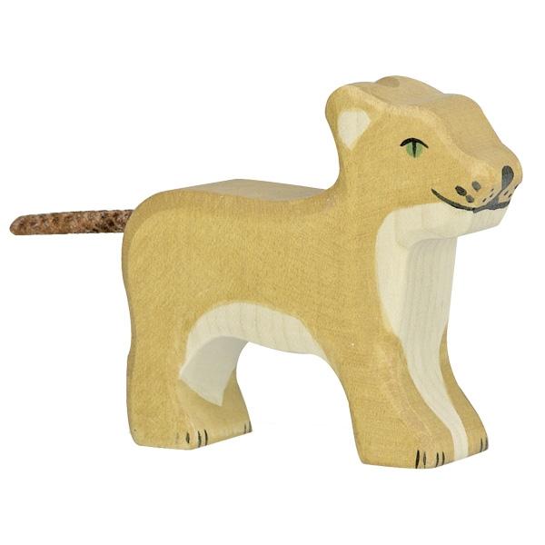 Figura legno cucciolo leone - Holztiger