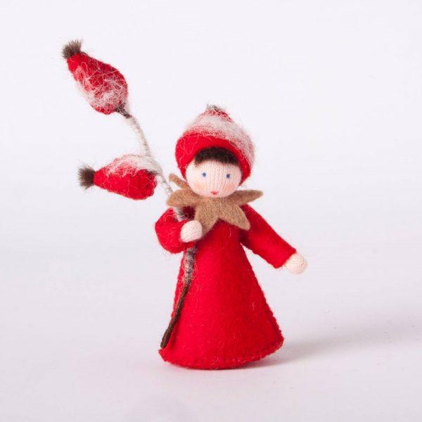 Figura Waldorf Fata Rosa Canina Ambro-dolls