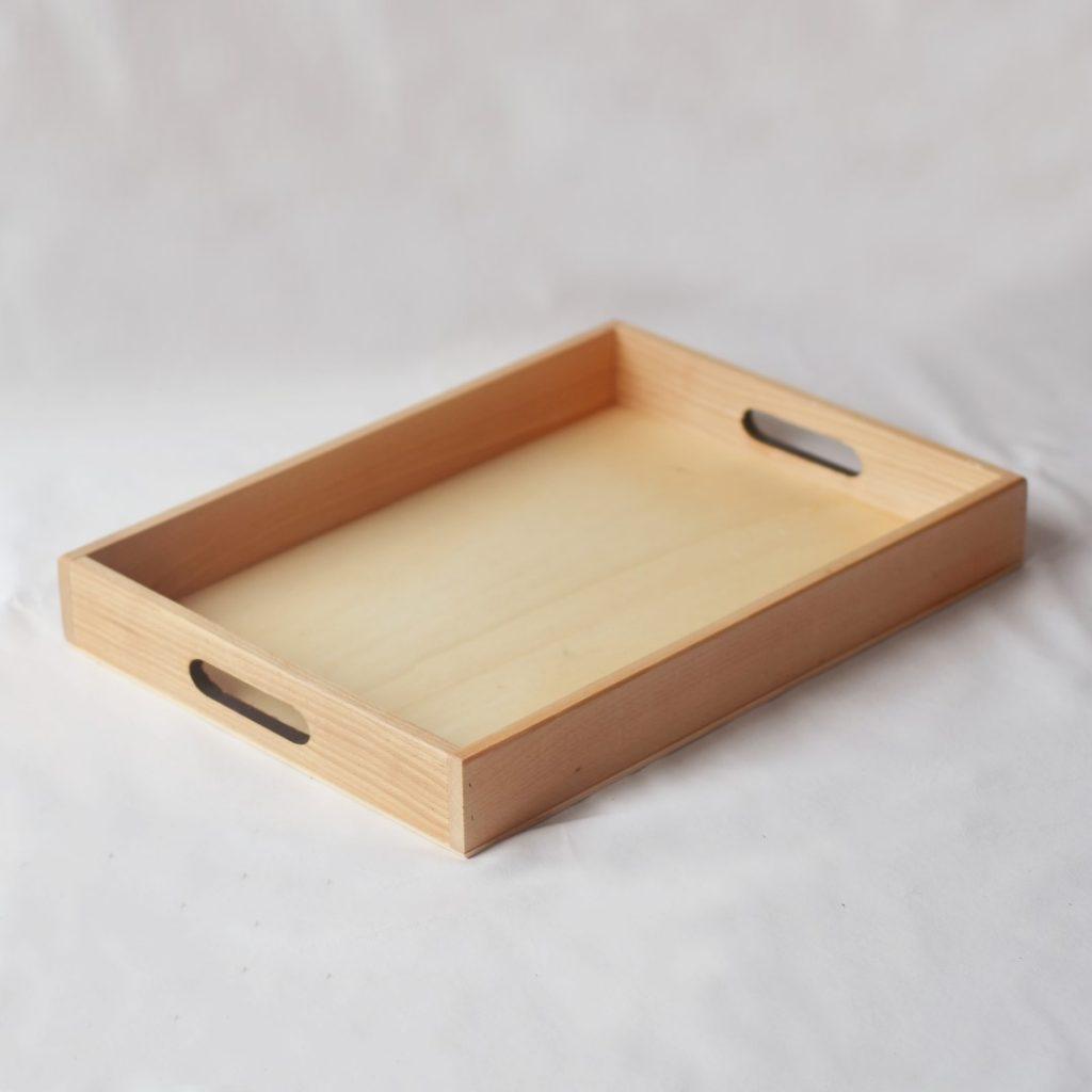 Vassoio rettangolare legno con manici 30 x 40 cm