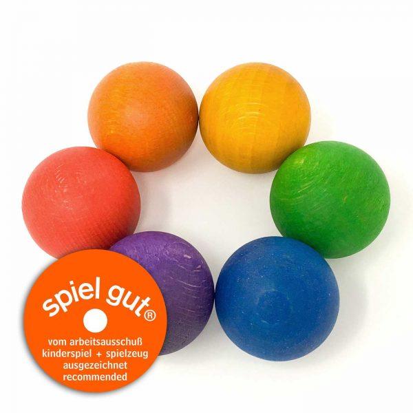 6 palle legno grandi colori arcobaleno Grapat