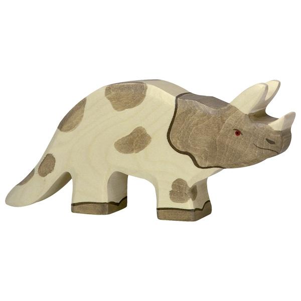 Figura legno Dinosauro Triceratopo - Holztiger
