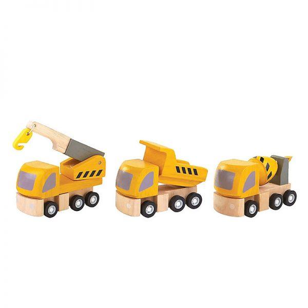 Gioco set veicoli cantiere in legno Plan Toys