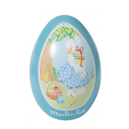 Uovo di latta blu La grande famille Moulin Roty