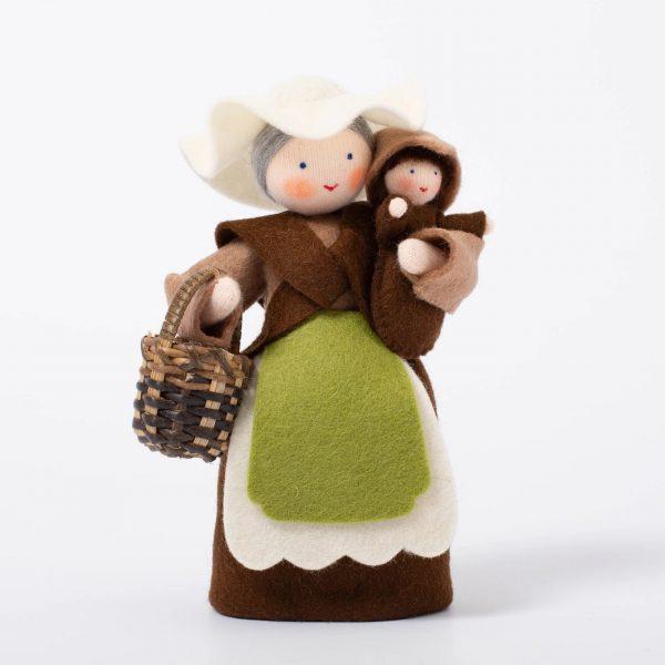 Figura Waldorf Mother Earth with baby Seed Ambro-dolls